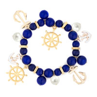 Bracelets - BLUE WHITE HELM &  ANCHOR PEARL BEAD GOLD SAILOR BANGLE BRACELET alternate image 2.