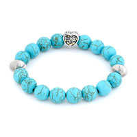 New Arrivals - FASHION TURQUOISE GEMSTONE CHUNKY BEST MOM CHARM BANGLE BRACELET alternate image 1.