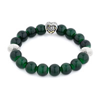 Bracelets - GREEN GEMSTONE CHUNKY CRYSTAL CZ BEST MOM CHARM BANGLE BRACELET alternate image 1.