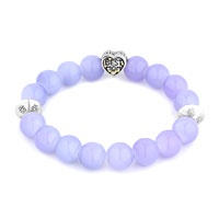 Bracelets - NEW AMETHYST PURPLE GEMSTONE CHUNKY BEST MOM CHARM BANGLE BRACELET alternate image 1.