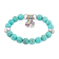 Bracelets - NEW BLUE GEMSTONE CRYSTAL CZ MOTHER DAUGHTER CHARM BANGLE BRACELET alternate image 1.