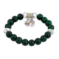 Bracelets - GREEN GEMSTONE CRYSTAL CZ MOTHER DAUGHTER CHARM BANGLE BRACELET alternate image 1.