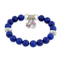 Bracelets - BLUE GEMSTONE CRYSTAL CZ MOTHER DAUGHTER CHARM BANGLE BRACELET alternate image 1.