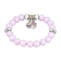New Arrivals - PINK GEMSTONE CRYSTAL CZ MOTHER DAUGHTER CHARM BANGLE BRACELET alternate image 1.