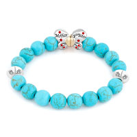Bracelets - BLUE GEMSTONE BUTTERFLY MOTHER DAUGHTER CHARMS BANGLE BRACELET alternate image 1.