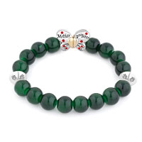 New Arrivals - GREEN GEMSTONE BUTTERFLY MOTHER DAUGHTER CHARMS BANGLE BRACELET alternate image 1.