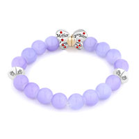Bracelets - PURPLE GEMSTONE BUTTERFLY MOTHER DAUGHTER CHARMS BANGLE BRACELET alternate image 1.
