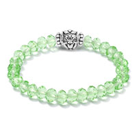 Bracelets - GREEN CZ CRYSTAL WITH SILVER/ P IRISH CLADDAGH ELASTIC CHARM BRACELET alternate image 1.