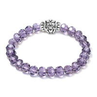 New Arrivals - AMETHYST CZ CRYSTAL SILVER/ P IRISH CLADDAGH ELASTIC CHARM BRACELET alternate image 1.