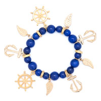 New Arrivals - BLUE BEADED HELM &  ANCHOR CHARM FEATHER GOLD SAILOR BANGLE BRACELET alternate image 1.