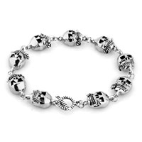 Man's Jewelry - NEW FASHION SILVER SKULL GOTHIC PUNK BEADS BRACELET BUDDHIST PRAYER alternate image 1.