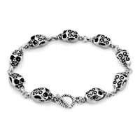 Man's Jewelry - STYLISH GIFTS SILVER SKULL GOTHIC PUNK BEADS BRACELET BUDDHIST PRAYER alternate image 1.