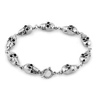 Man's Jewelry - NEW STYLISH SILVER SKULL GOTHIC PUNK BEADS BRACELET BUDDHIST PRAYER alternate image 1.
