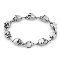 Man's Jewelry - STYLISH SILVER SKULL GOTHIC PUNK BEADS FOR BRACELET BUDDHIST PRAYER alternate image 1.