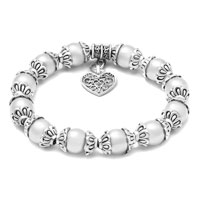 Bracelets - HEART DANGLE FRESHWATER WHITE PEARL SILVER/ P SPACER BEADED BRACELET alternate image 1.
