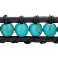Bracelets - POPULAR BLUE TURQUOISE BEADS WRAP BRACELET ON BLACK LEATHER ROPE alternate image 1.