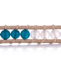 Bracelets - BLUE WHITE AGATE BEADS WRAP BRACELET ON BROWN COTTON SNAP BUTTON LOCK alternate image 1.