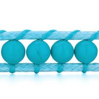 Bracelets - CLASSIC TURQUOISE BEADS WRAP BRACELET ON BLUE COTTON SNAP BUTTON LOCK BRACELETS WOMEN alternate image 1.