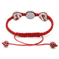 Bracelets - CLEAR WHITE CRYSTAL DOUBLE HEART LOVE LIGHT RED STRING ADJUSTABLE LACE BRACELET alternate image 1.
