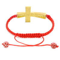 New Year Deals - TOPAZ YELLOW CRYSTAL CROSS LIGHT RED STRING ADJUSTABLE LACE BRACELET alternate image 1.