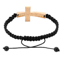 New Year Deals - BLACK LACE SILVER ICED OUT TOPAZ YELLOW CRYSTAL SIDEWAYS CROSS MACRAME ADJUSTABLE LACE BRACELET alternate image 1.