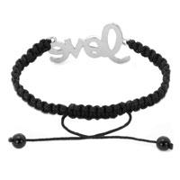 Bracelets - BLACK LACE SILVER ICED OUT CLASSIC BLACK CRYSTAL SIDEWAYS LOVE MACRAME ADJUSTABLE LACE BRACELET alternate image 1.
