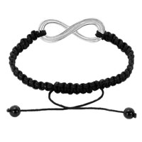 Bracelets - INFINITY BRACELET SILVER INFINITY MACRAME ADJUSTABLE LACE BRACELET alternate image 1.
