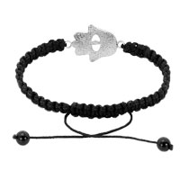 Bracelets - EVIL EYES BRACELETS CLEAR WHITE CRYSTAL HAMSA HAND EVIL EYE ON EXQUISITE PALM BLACK BRACELETS alternate image 1.