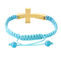 Bracelets - TOPAZ YELLOW AND CLEAR WHITE CRYSTAL CROSS AQUAMARINE BLUE STRING ADJUSTABLE LACE BRACELET alternate image 1.