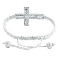 Man's Jewelry - CLEAR WHITE CRYSTAL SIDEWAYS CROSS LACE BRACELET WHITE KNITTING BRAIDED LEATHER STRING HORIZONTAL ADJUSTABLE LACE BRACELET alternate image 1.