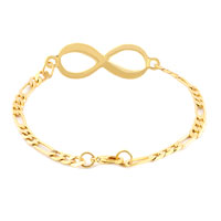Bracelets - INFINITY BRACELET 14 K GOLD PLATED CLEAR LOBSTER CLASPS BRACELET alternate image 1.