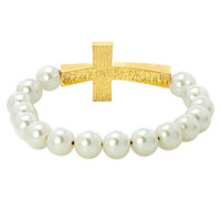 Bracelets - WHITE PEARLS TOPAZ YELLOW AND CLEAR WHITE CRYSTAL SIDEWAYS CROSS SHAMBALLA BEADED STRETCH LACE BRACELET alternate image 1.