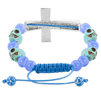Man's Jewelry - SAPPHIRE BLUE CLEAR WHITE CRYSTAL CROSS LIGHT SKULL PURPLE BEADS LACE ADJUSTABLE BRACELET alternate image 1.
