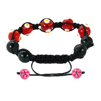 Bracelets - SHAMBALLA BRACELET FAD MACRAME BLING JEWELRY BRIGHT RED EVIL EYE BEADS BRACELETS alternate image 1.