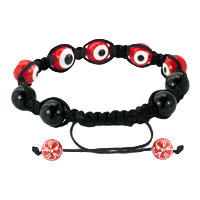 Bracelets - SHAMBALLA BRACELET FAD MACRAME BLING JEWELRY RED EVIL EYE BEADS BRACELETS alternate image 1.