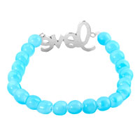 Bracelets - AQUAMARINE BLUE SIDEWAYS ICED OUT BLACK RHINESTONES LOVE BEADED STRETCH BRACELET alternate image 1.