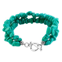 New Year Deals - CHIP STONE BRACELETS GENUINE TURQUOISE GEMSTONE NUGGET CHIPS CHUNKY STRETCH BRACELET FOR WOMEN alternate image 1.