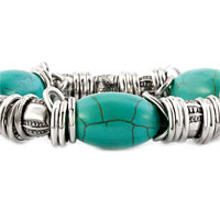 New Year Deals - GENUINE TURQUOISE GEMSTONE CHIPS RINGS CHARM BEADS CHUNKY BRACELET alternate image 1.
