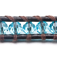 Bracelets - SAPPHIRE CHAN LUU WRAP BRACELET ON BROWN LEATHER BEAD BRACELETS alternate image 1.