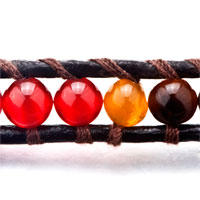 New Year Deals - INDIAN RED AGATE BEAD WRAP BRACELET ON BROWN LEATHER CHIP STONE alternate image 1.