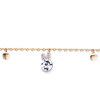 Bracelets - GOLDEN CHAIN DANGLE METAL ROUND BUNNY HEAD APRIL BIRTHSTONE CLEAR SWAROVSKI CRYSTAL ANKLE BRACELET ANKLET LOBSTER CLASP alternate image 1.