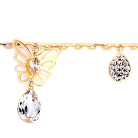 Theme Jewelry - GOLDEN CHAIN BUTTERFLY APRIL BIRTHSTONE CRYSTAL ANKLET LOBSTER CLASP BRACELET alternate image 1.