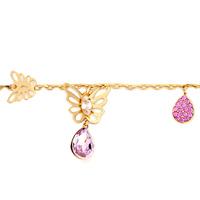 Bracelets - GOLDEN CHAIN DANGLE BUTTERFLY CRYSTAL BIRTHSTONE PINK CRYSAL DROP BRACELET alternate image 1.