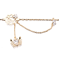 New Year Deals - DANGLE CLEAR CRYSTAL GOLDEN ANKLE BRACELET ANKLET LOBSTER CLASP alternate image 1.