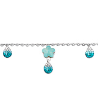 Bracelets - CHAIN FLOWER DROP BLUE CRYSTAL ANKLE BRACELET ANKLET LOBSTER CLASP alternate image 1.