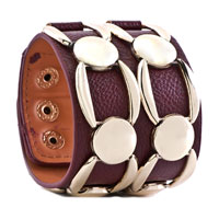 Bracelets - STAINLESS STEEL STUDDED AMETHYST RED LEATHER CUFF BRACELET alternate image 1.