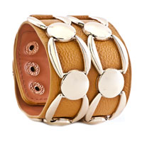 Man's Jewelry - STAINLESS STEEL STUDDED GINGER LEATHER CUFF BRACELET alternate image 1.