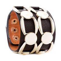Man's Jewelry - STAINLESS STEEL STUDDED BROWN LEATHER CUFF BRACELET alternate image 1.