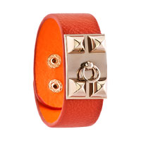 Man's Jewelry - STAINLESS STEEL STUDDED ORANGE LEATHER CUFF BRACELET alternate image 1.