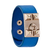 Bracelets - STAINLESS STEEL STUDDED SAPPHIRE BLUE LEATHER CUFF BRACELET alternate image 1.